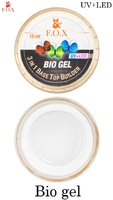 Прозрачный био-гель F.O.X Bio gel (3 in 1 Base/Top/Builder)  UV+LED (15 мл)